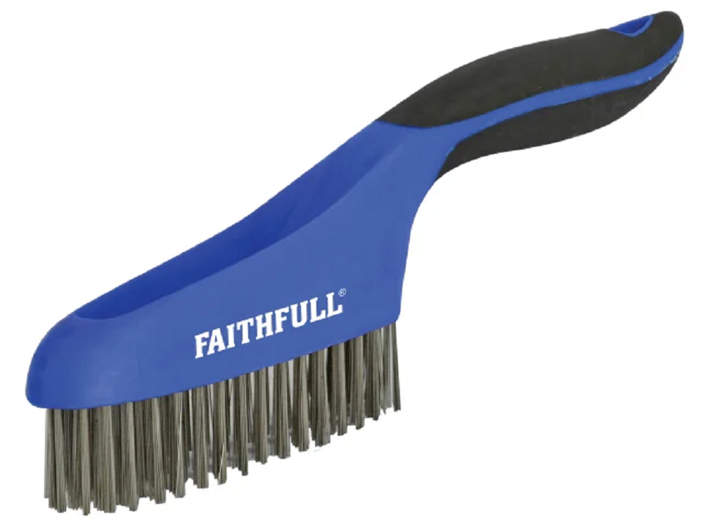 Faithfull FAISB164SS Soft Grip Stainless Steel Wire Scratch Brush 4 x 16 Row